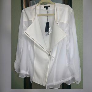 Lane Bryant Ivory Blazer Jacket w/Sheer